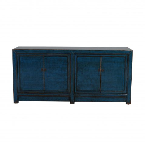 distressed cobalt blue painted chinese sideboard with 4 doors