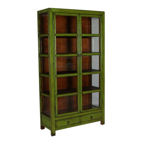 2 door glass fronted bookcase with two drawers in green