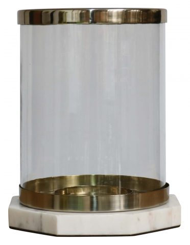 Block & Chisel round hurricane glass lantern with marble base