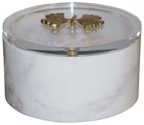 Block & Chisel round white marble box with acrylic lid