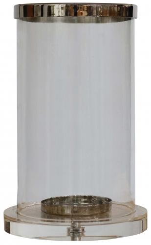 Block & Chisel round hurricane glass lantern with acrylic base