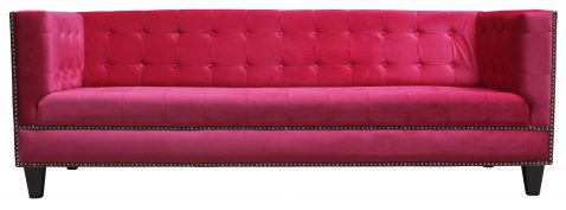 Block & Chisel magenta velvet 3 seater sofa