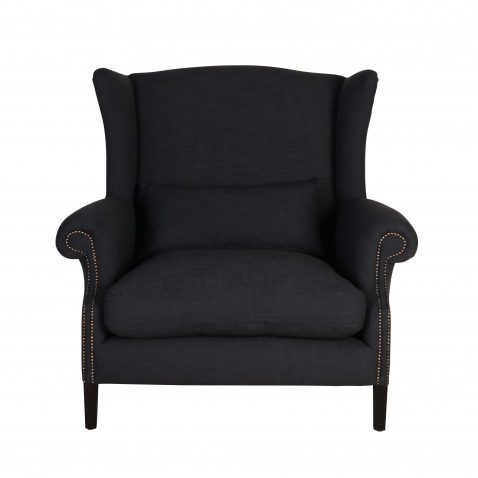 locally made loveseat in cinder fabric