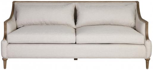 Block & Chisel upholstered sofa with mindi wood legs