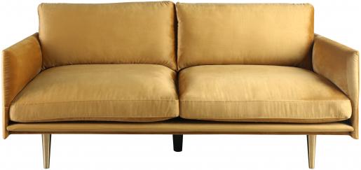 Block & Chisel gold velvet upholstered sofa with steel tube legs