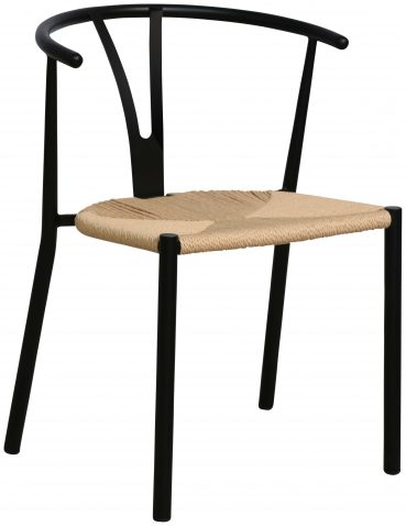 Block & Chisel horse shoe chair with black steel tube frame