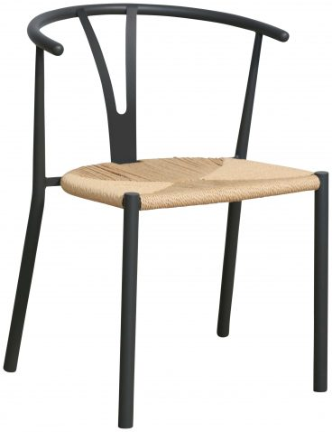 Block & Chisel horse shoe chair with grey steel tube frame