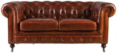 Block & Chisel brown bovine leather chesterfield sofa