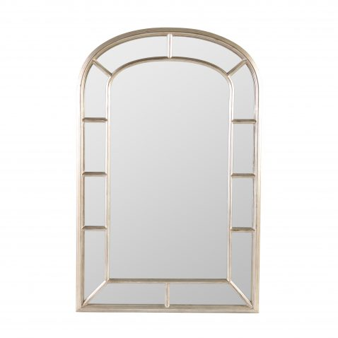 Arched panel framed silver mirror