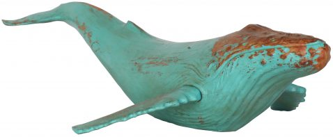Block & Chisel rustic turquoise polyresin whale