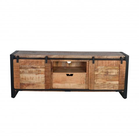 Block & Chisel mango wood TV stand with metal legs
