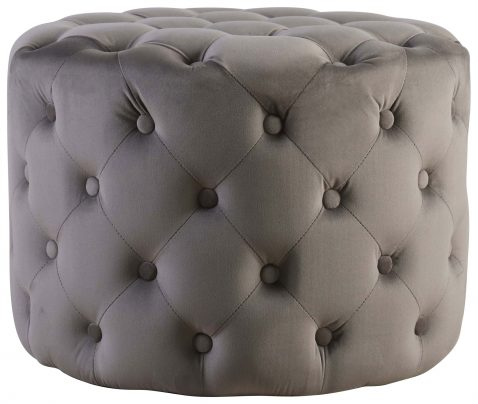 Block & Chisel round grey upholstered button tufted stool