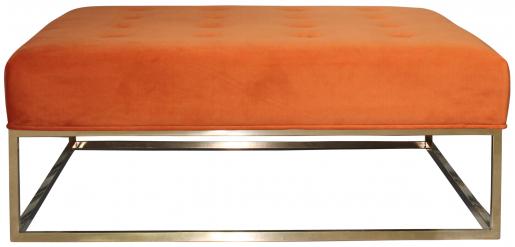 Block & Chisel square orange upholstered ottoman