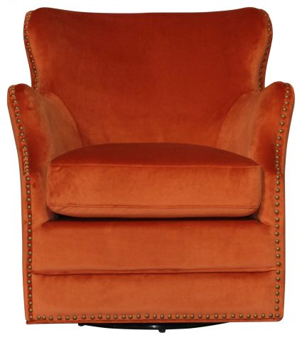 Block & Chisel Swivel Chair Orange Velvet Upholstered With Birch Wood Legs