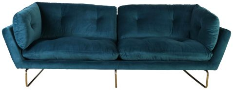 Block & Chisel blue velvet upholstered sofa with gold coated steel legs