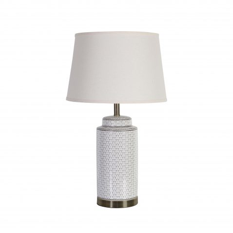 Tiling geometric pattern on cylinder white base and metal trim with white lampshade