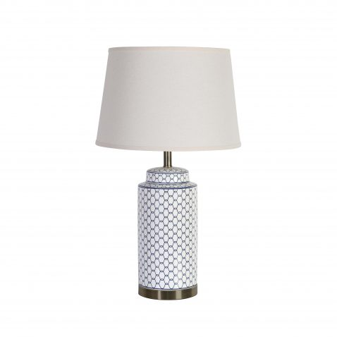 Linked chain navy blue pattern on cylinder base and brass trim with white lampshade