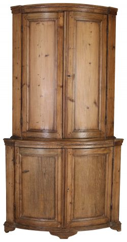 Block & Chisel 19th century bow front corner cupboard
