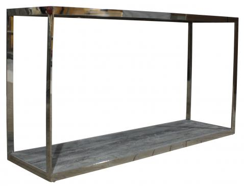 Stainless steel console with wood