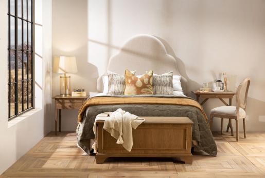 block and chisel 2 drawer oak bedside