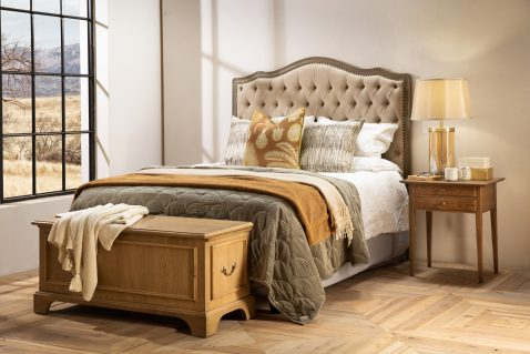 Block & Chisel linen upholstered button tufted headboard with wooden frame