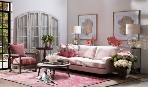 Block & Chisel elektra blush upholstered sofa