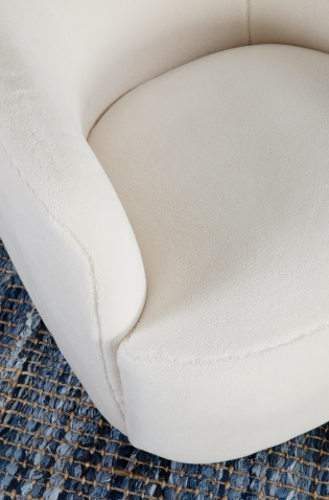 shaggy faux fur white swivel tub chair