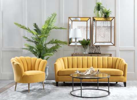 Maritz 3 seater sofa in yellow with channel tufting details and high armrests