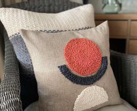 punch needle scatter cushion oatmeal