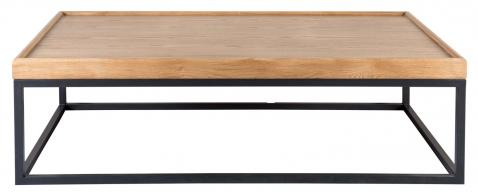 Block & Chisel weathered oak coffee table with wrought iron frame