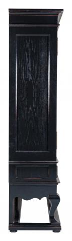 Block & Chisel solid weathered oak drinks cabinet with black lacquer