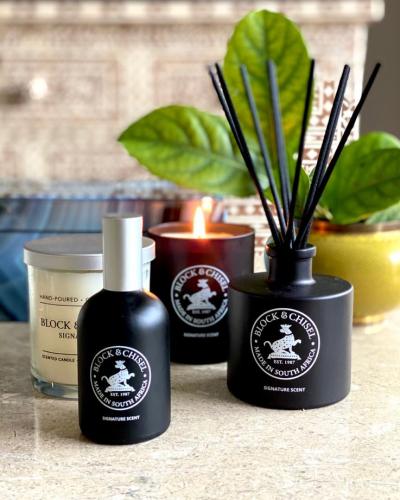 Block & Chisel signature scent collection in mat black