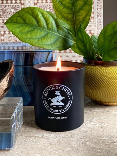 Block & Chisel signature scent mat black candle glass container
