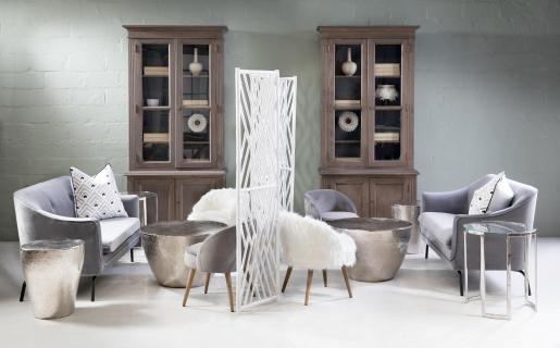 Block & Chisel round aluminium side table