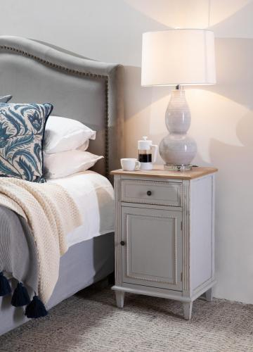 white organic ceramic lamp base and silk shade