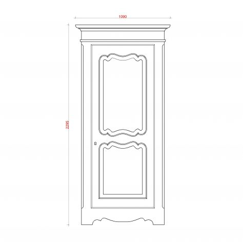 Block & Chisel single door antique white wardrobe technical drawing