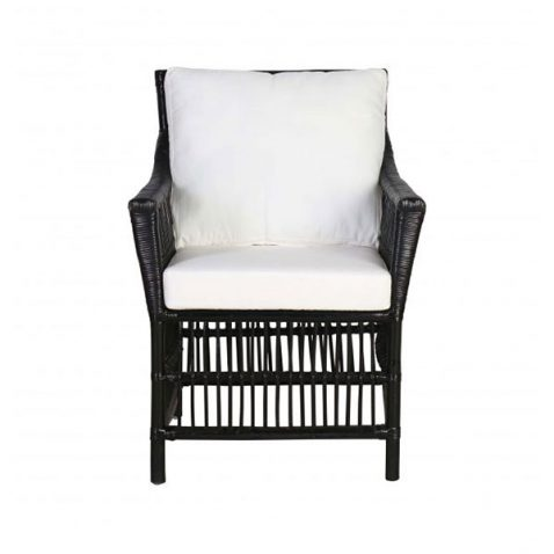 Block & Chisel croco rattan armchair with white cushion