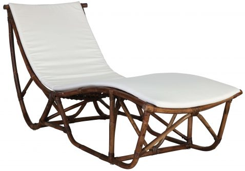 Block & Chisel natural rattan lounger with cushion
