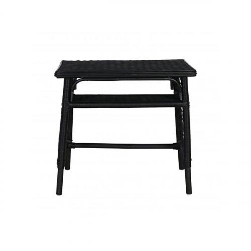 small black rattan desk