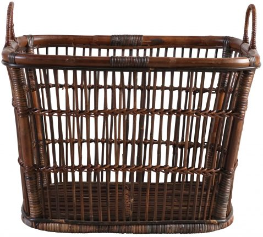 Block & Chisel black rattan basket with handles