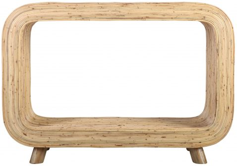 Block & Chisel rectangular rattan console table with teak wood legs