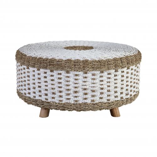 water hyacinth coffee table with teak legs