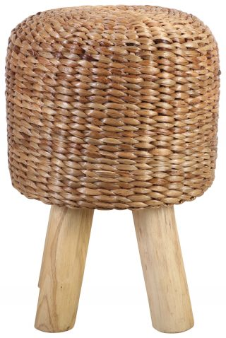 Block & Chisel woven water hyacinth stool with teak wood legs
