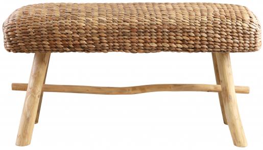 Block & Chisel rectangular woven water hyacinth bench with teak wood legs