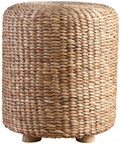 Block & Chisel woven water hyacinth stool with teak wood feet