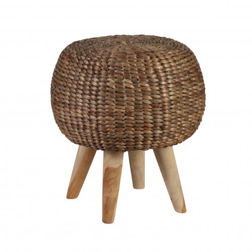 Alyssa round hyacinth stool with teak legs