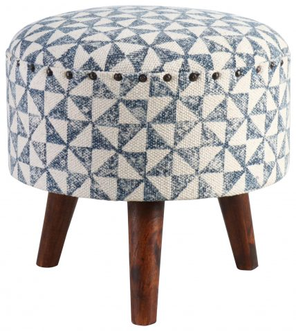 Block & Chisel round blue and white print cotton upholstered stool
