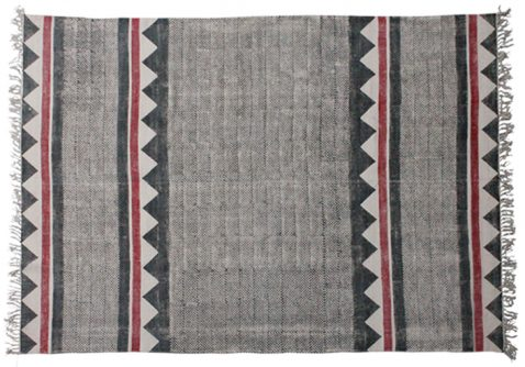 Block & Chisel red and black printed cotton rug