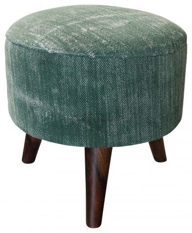 Block & Chisel round green cotton upholstered stool
