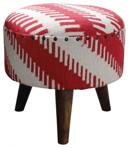 Block & Chisel round red and white print cotton upholstered stool